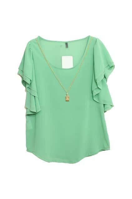 Ruffle Sleeves Green Blouse