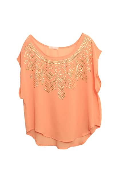 Sequin Detailed Pink Blouse