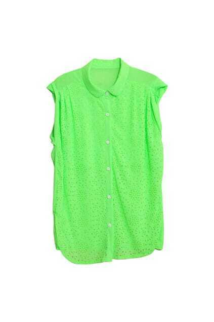 Distressed Front Bright Green Blouse