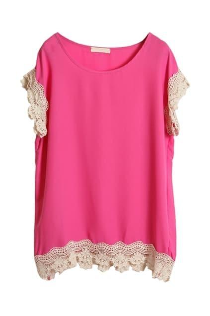 Crochet Lace Detailed Rose Blouse
