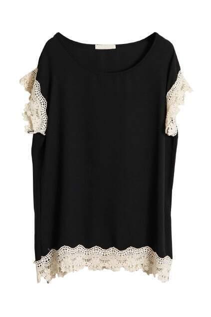 Crochet Lace Detailed Black Blouse