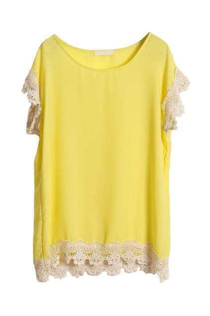 Crochet Lace Detailed Lemon Blouse