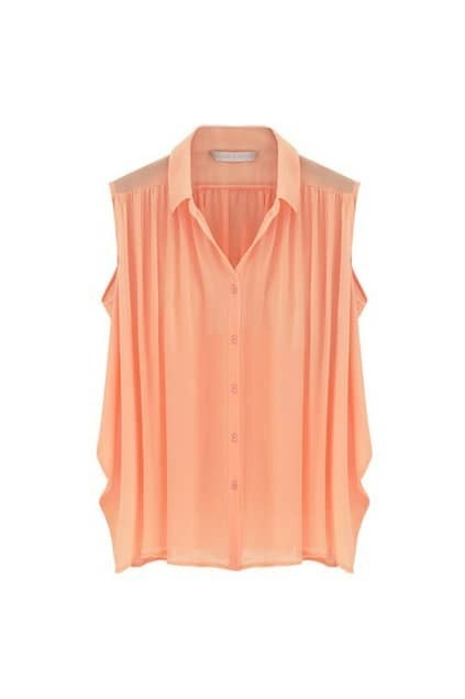 Orange Pleats Chiffon Shirt
