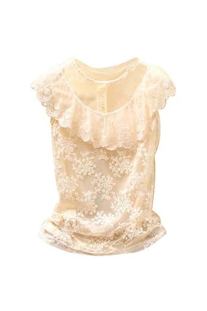 Elegenrt Lace Hollow Cream-colored Blouse