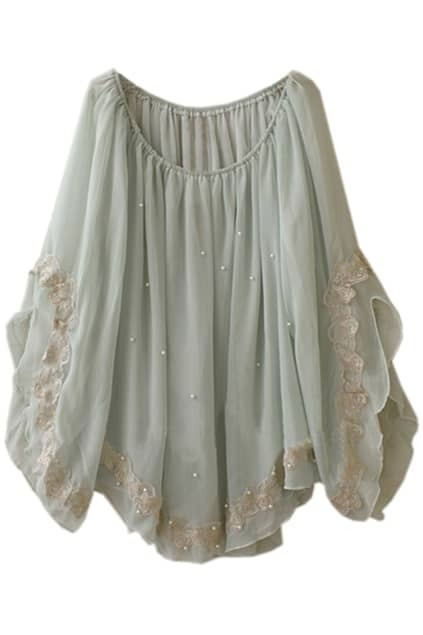 Batwing Oversized Light-green Blouse