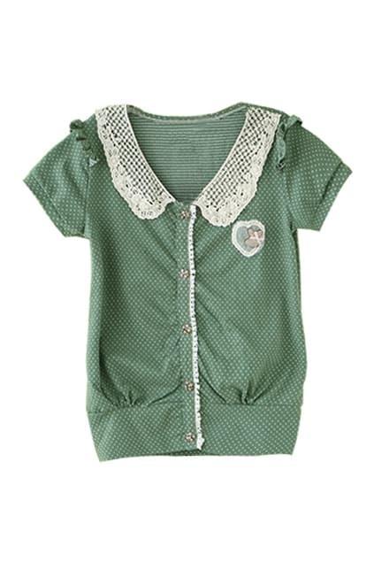 Dots Peter Pan Collar Green Shirt