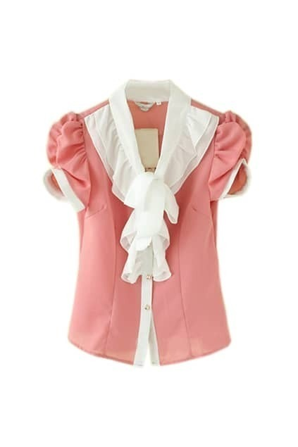 Preppy Style Puff Sleeve Blouse