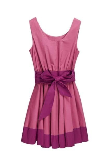 Oversized Hem Sleeveless Dark Pink Dress