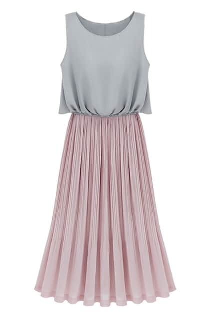 Contrast Color Pleated Pink Dress