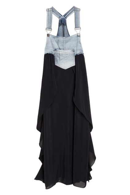 Splicing Denim Black Strap Dress