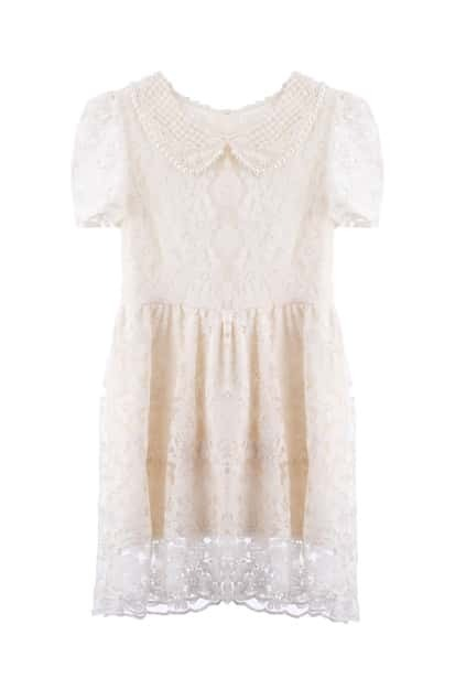 Pearl Collar Crochet Lace Shift Dress