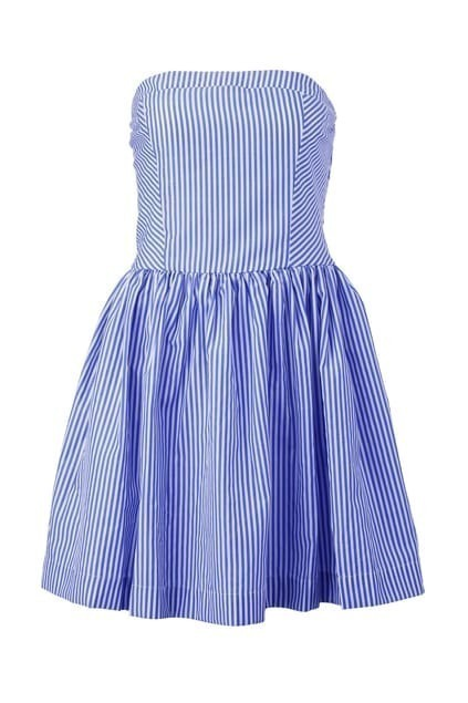 Navy Style Striped Bandeau Dress