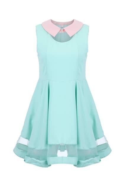 Block Collar Sheer Hem Shift Dress