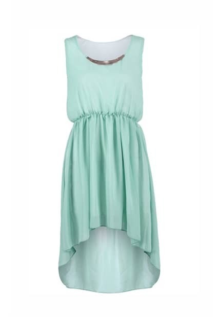Anomalous Hemline Green Shift Dress