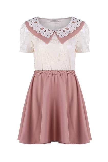 Crochet Lace Dark Pink Dress