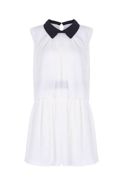 Overlay Detailed Cream Shift Dress