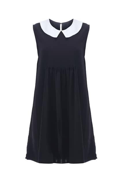 Block Collar Black Pleated Dress