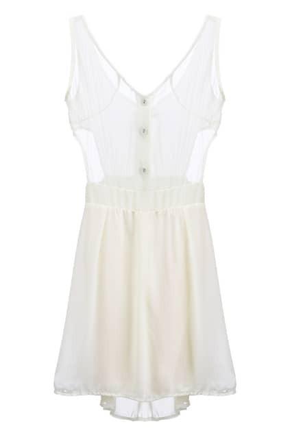 Cut-out Waist Cream Shift Dress