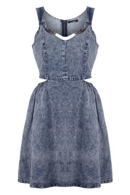 Cut-out Waist Denim Dress