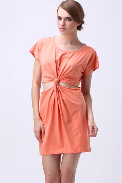 Cut Out Knot Detail Shift Dress