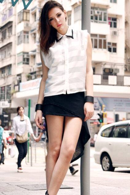 Anomalous Hemline Black Tank Dress