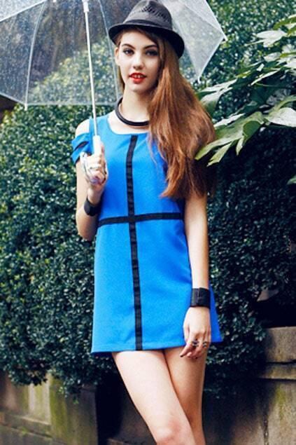 Black Cross Double Strap Blue Dress