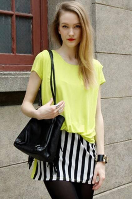 Vertical Stripes Yellow Twinset Dress