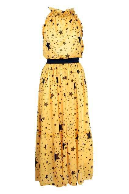 Flouncing Band Collar Yellow Dress