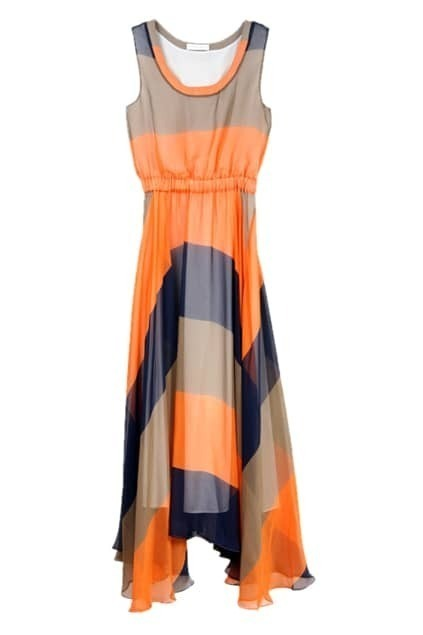 Color Block Elegent Sleeveless Dress