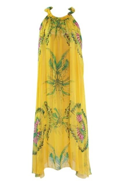 Floral Print Yellow Maxi Dress