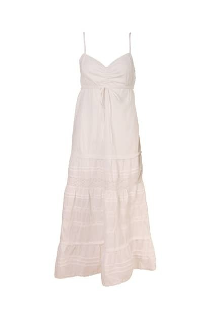 Sleeveless Suspender Strap White Dress