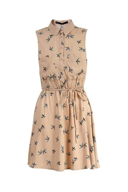 Swallow Print Light-coffee Dress