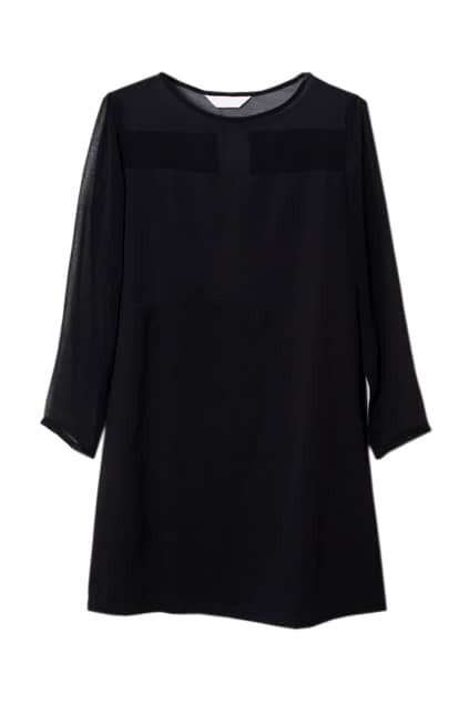 Splicing Sheer Chiffon Black Dress