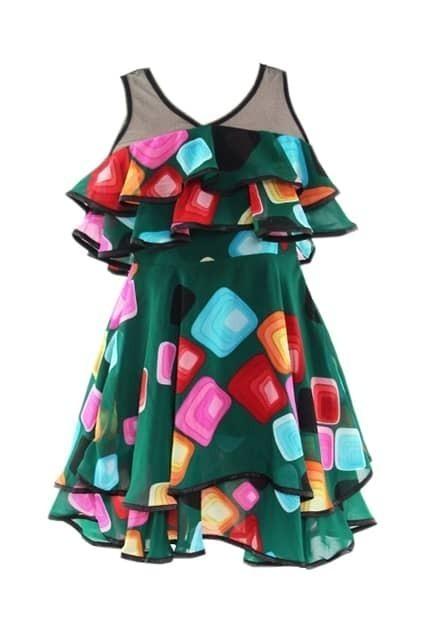Ruffle Design Multi-color Shift Dress