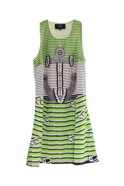 Anchor Print Green Tank Dress
