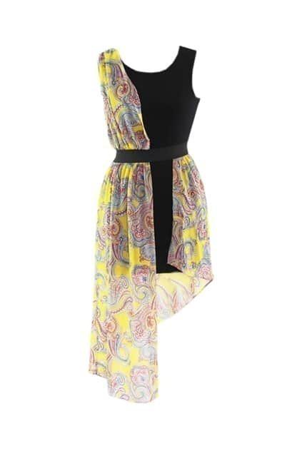Floral Print Asymmetric Tank Dress