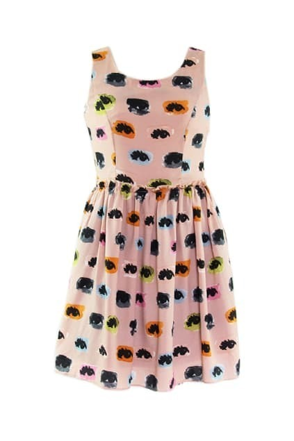 Eyes Print Pink Shift Dress