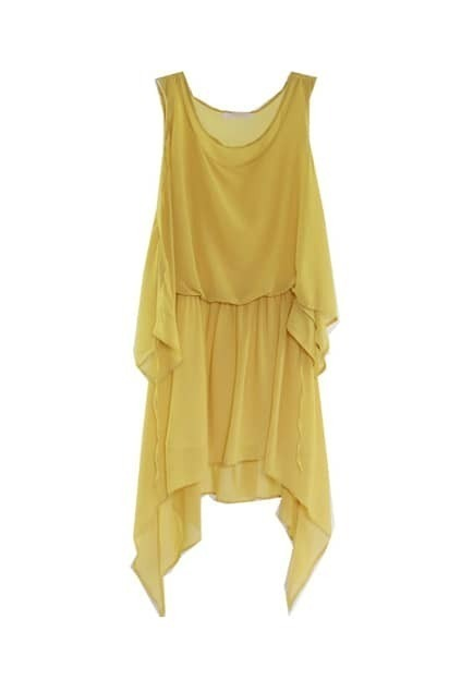 Dipped Anomalous Hem Yellow Shift Dress
