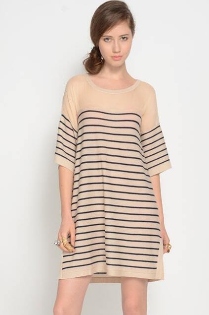 Sheer Panel Striped Cream-blue Dress