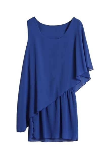 Anomalous Sleeves Controlled Waist Blue Dress