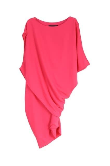 Anomalous Cut Silk Rose Shift Dress