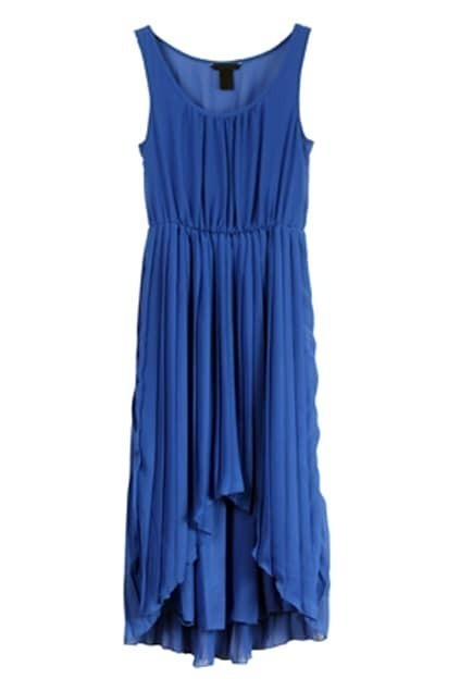Scoop Neck Sleeveless Royalblue Dress
