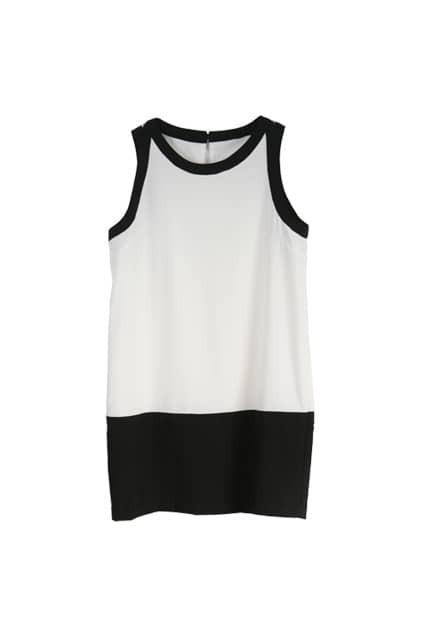 Brief Style Sleeveless Black-white Dress