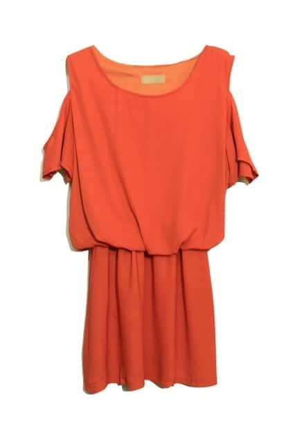 Off Shoulder Orange Dress