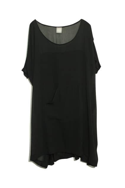 Pocket Front Black Dress