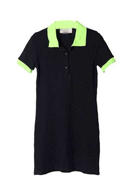 Lapel Neck Cotton Black Dress