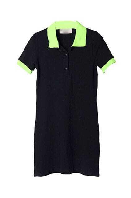 Lapel Neck Cotton Black Dress