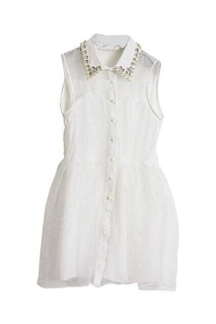 Beaded Lapel Pompom Sheer White Dress