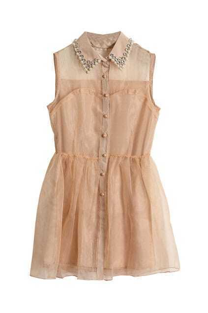Beaded Lapel Pompom Sheer Nude Dress