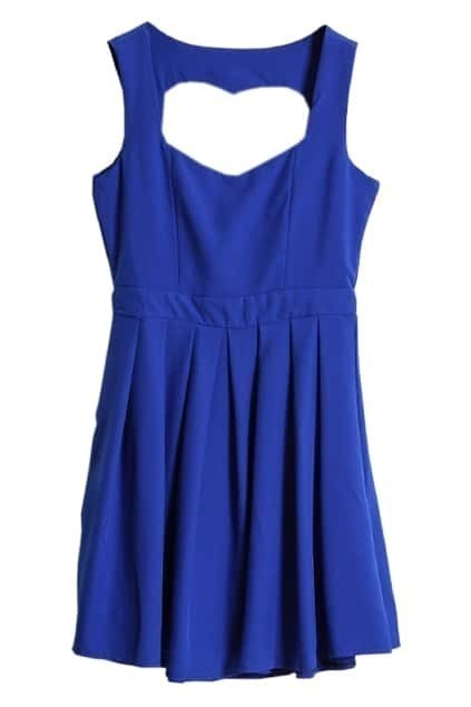 Hollowed Heart Back Blue Dress